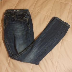 Miss me Fleur de Lis embroidered skinny jeans